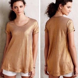Gold Linen Bordeaux Anthropologie tunic top S/P